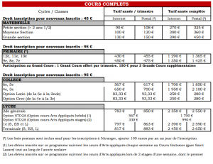 Tarifs Cours Complets_2015-2016