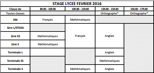 Planning stage lycee